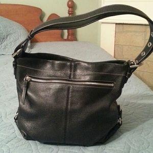 Coach black pebbled leather duffle crossbody